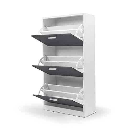 IDMarket - Meuble à chaussures blanc 3 portes grises