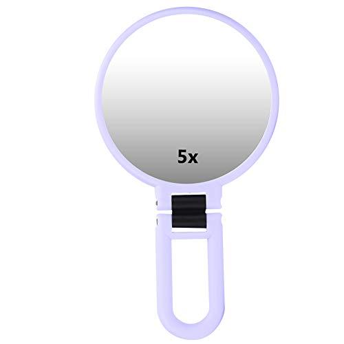 Miroir pliant grossissant 5X, miroir cosmétique réglable voyage miroir de maquillage portable miroir pliant à main avec grossissement 5x pour le maquillage, pincement(Violet)