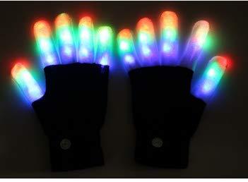 LECHI Paire de gants LED lumineux pour enfants avec LED multicolores clignotants pour doigts lumineux 6 modes pour fête