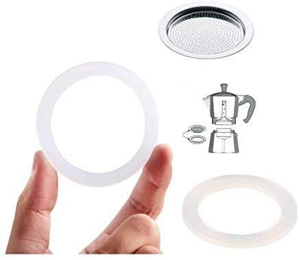 WESTCRAFT 2 anillos de sellado de silicona + colador/filtro. Reemplazo para cafetera espresso de 1, 2, 3 o 6 tazas (anillo de repuesto de 81 mm + colador de 74 mm para cafetera espresso de 9 tazas).