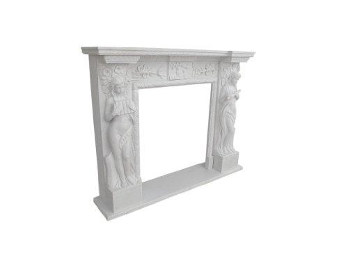 Weisser Marmor Kamin Kaminverkleidung Klassisch Motiv Nymphen Kaminumrandungen