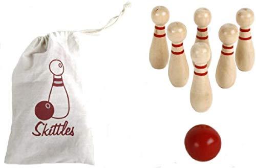 Bowling Kegel - Spiel, 7-teilig Holz Tischbowling Mini-Kegeln | Geschenk für Männer | Frauen | Geburtstag | Kinder | Spielzeug |