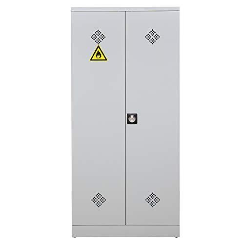 Certeo Gefahrstoffschrank   HxBxT 195 x 92 x 42 cm   Grau   Umweltschrank Chemikalienschrank Spritzmittelspind
