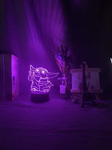 Luz nocturna 3D LED para bebé, figura de Yoda para niños, dormitorio, decoración, regalo