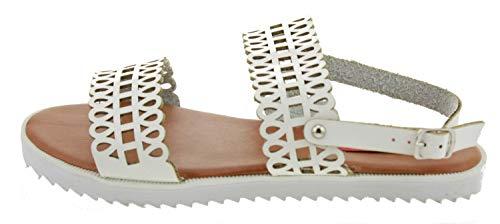 Neu Damen/Damen weiß London Rebel 2 Teile Sandalen Mit A Grobe Sohle - weiß - UK GRÖßEN 3-8 - Weiß, Synthetik, Damen, 40, Weiß