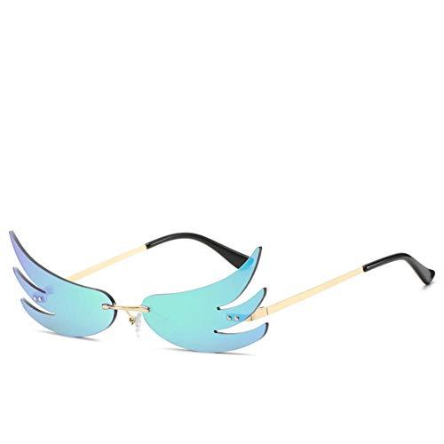 ZYIZEE Gafas de Sol Gafas de Sol Mujer Hombre Gafas de Sol de Onda sin Montura Gafas UV400 Gafas de Sol estrechas de Tendencia A10