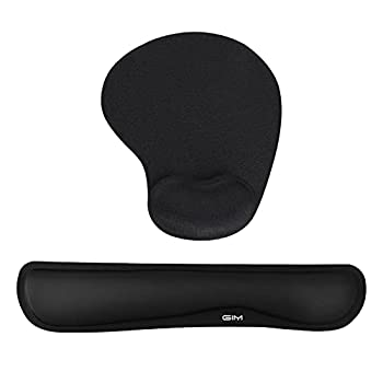 GIM Keyboard and Mouse Pad with Gel Wrist Rest Support Memory Foam Set with Non Slip Rubber Base for Office Gaming Computer Laptop and Mac