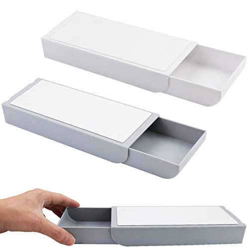 Amersumer 2 Pcs Under Table Drawer Under Desk Drawer Organizer Storage Mini Table Organizer Self-Adhesive Hidden Desk Drawer Pencil Drawer Tray for Office Home School and more White and Grey