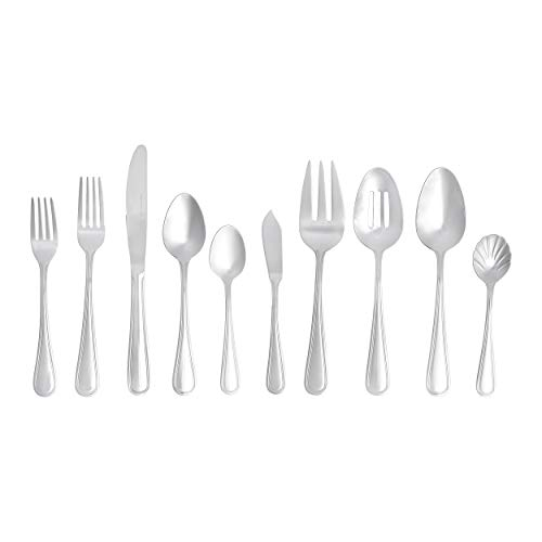 Amazon Basics 65-Piece Stainless Steel Crown Flatware Set Service for 12