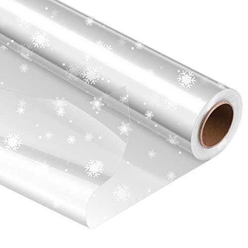 STOBOK Klares Cellophan Rolle,Entfaltete Breite 80CM x 30M Transparente Geschenkpapier Weihnachten Schneeflocken,3.0 Mil Dicke Folienrolle zum Einwickeln von Geschenkkörben,Transparentpapier