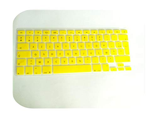 Silicone Soft Color French Uk/Eu Azerty Keyboard Clavier Cover Skin For Mac Book Pro Macbook Air 13' 15' 17' Air 13 before 2018-yellow-