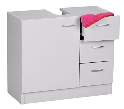 Wohnling wastafelonderkast, 54 x 63 x 30 cm met 1 deur en 3 laden, onderkast badkamer met sifonuitsparing, badkamerkast kleine wastafel, wit