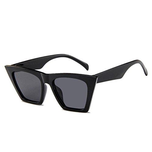 Amcool Mode Damen Übergroße Sonnenbrille Vintage Retro Cat Eye Sonnenbrille (Schwarz)