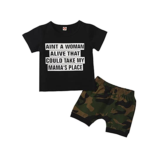 Forver Baby Boy Clothes Outfit,Newborn Infant Baby Boys Letter Print T Shirt Tops Camouflage Shorts Outfits Set