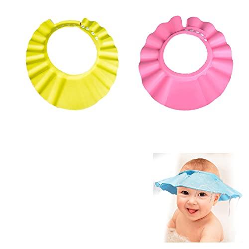 YANGJI 2pcsGorro de Ducha para Bebé,Champú Ajustable para Bebé,para Bebé Sombrero Champú Evite que el Agua Fluya a Ojos y de la Cara.