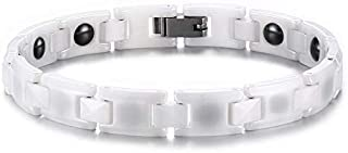 Women White Ceramic Magnetic Health Bracelet for Arthritis Pain Relief Elbow