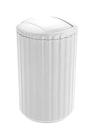 Allstar Schwingdeckeleimer Minas Weiß - Kosmetikeimer Fassungsvermögen: 3 l, Polypropylen, 15 x 25 x 15 cm, Weiß