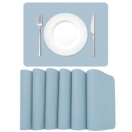 MORROLS Manteles Individuales de Cuero, Juego de 6 Mantel Individual Lavables Resistente al Desgaste al Calor Impermeable Fácil de Limpiar 30x42cm(Azul Claro)