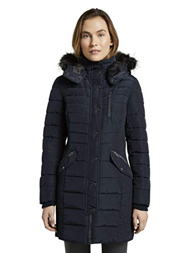 TOM TAILOR Damen Jacken Langer Puffermantel mit Kapuze Sky Captain Blue,XL