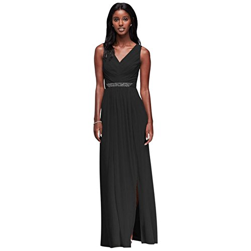 David's Bridal Long Mesh Bridesmaid Dress with V-Neck and Beaded Waistband Style W11092, Black, 2