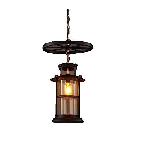 XXSC Lámpara de araña redonda de hierro forjado con diseño industrial antiguo, pantalla de lámpara de cristal, lámpara de techo decorativa, lámpara de araña, para salón, bar o café