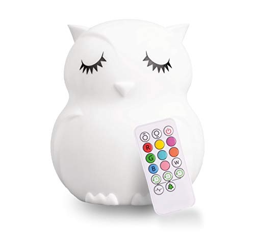 LED Nursery Owl Night Light for Kids LumiPets Cute Animal Silicone Baby Night Light with Touch Sensor - Portable and Rechargeable Infant or Toddler Color Changing Bright Nightlight & Baby Gifts