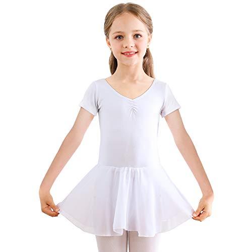 Bezioner Dziewczęca sukienka baletowa dla dzieci gimnastyka taniec trykot kostium taniec taniec ze spódniczką biała 120