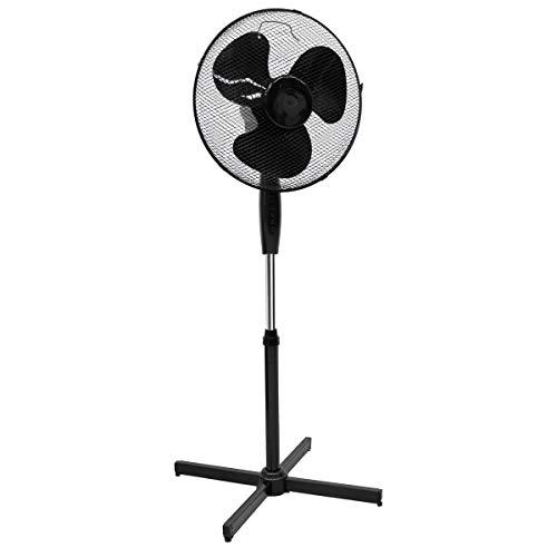 ECD Germany Standventilator 45W Ø43cm Schwarz leise, 3 Geschwindigkeitsstufen - Standfuß höhenverstellbar 105-120cm - 90° Oszillazion - 30° neigbar - Ventilator Standlüfter Luftkühler Bodenventilator