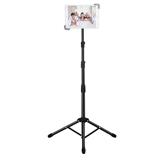 """Ipad Tripod Stand, Weiyudang Height Adjustable 20 to 60 Inch Tablet Tripod Mount For Ipad Pro 12.9""""/11"""", Ipad Air 10.5"""", Ipad 9.7'' and More 9.5"""" to 14.5"""" Tablets with Bluetooth Remote Control As Gift"""