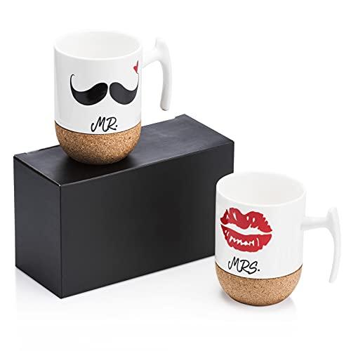 Love-KANKEI Mr and Mrs Tazze di Ceramica con Base in Sughero - Regali di Nozze Regalo di San Valentino Uomo - Set di 2 10.5 oz