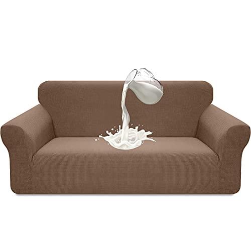 Luxurlife Funda de sofá Impermeable 3 Plazas Funda para Sofá Elástica Antideslizante Protector de Muebles Patrón para Sala de Estar(3 Plazas,Caqui)