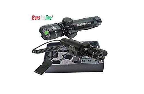 CursOnline Laser Puntatore Di Precisione Per Pistola Fucile Softair Caccia Raggio Colore Verde Set Completo Di Attacchi, Batteria, Caricabatterie e Cordino Remoto. Distanza 2000 Metri. OTTIMA QUALITÀ