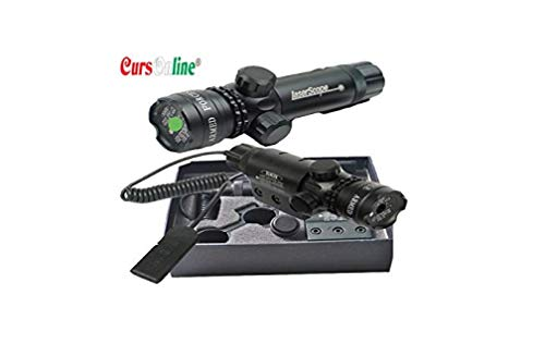 CursOnline® Laser Puntatore Di Precisione Per Pistola Fucile Softair Caccia Raggio Colore Verde Set Completo Di Attacchi, Batteria, Caricabatterie e Cordino Remoto. Distanza 2000 Metri. OTTIMA QUALITÀ