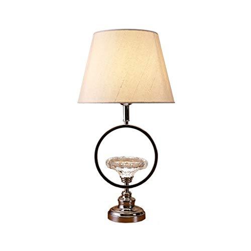 Lámparas de Mesa Lámpara de mesa de cristal de la personalidad, base de bronce y pantalla de lino beige, lámpara de cabecera del estudio del dormitorio del dormitorio de la sala de estar del hotel