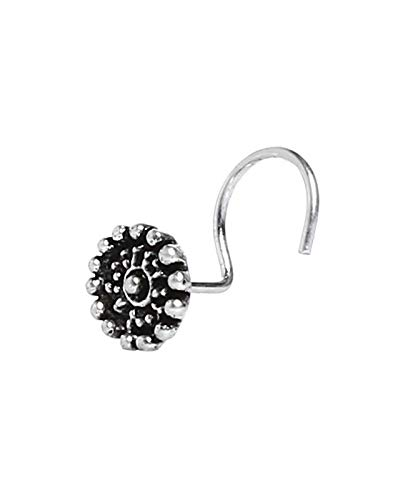 Nemichand Jewels 925 sterling Silver Trendy Antique oxidised nose pin for womens (NJ 02 22)
