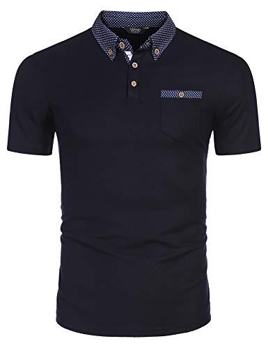 COOFANDY Herren Kurzarm Sommer Shirt Herren Poloshirt Polohemd Freizeit Polo Kragen Slim Fit Polo für Herren
