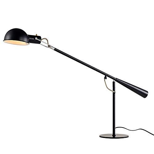Moderna Creativo Polo Largo Giratorio Lámpara Escritorio,De Moda Planchar Arte Con Interruptor E27 Lámpara De Mesa,Oficina Cabecera Salón Decoración Luz De Lectura Lámpara Escritor-Negro 7.09