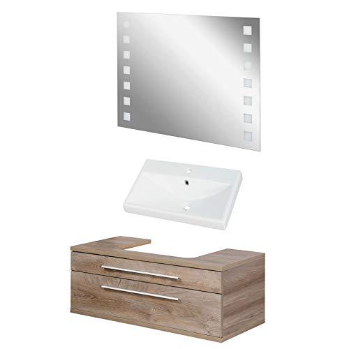 FACKELMANN Natur Badmöbel Set Stanford 3-TLG. mit Waschtisch Unterschrank hängend & Keramikbecken 110 cm & LED Badspiegel