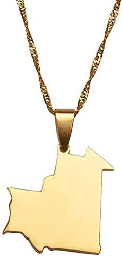 Yiffshunl Collar de Moda Mapa de Color Dorado de Mauritania, Collar con Colgante para Mujeres, Hombres, mapas de Mauritania, joyería, Regalos, Collar