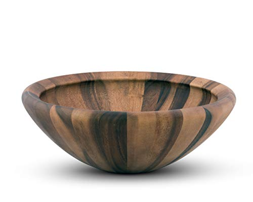 Arthur Court Acacia Wood Modern Bowl for Fruits or Salads 16 inch Diameter 6 inch Tall