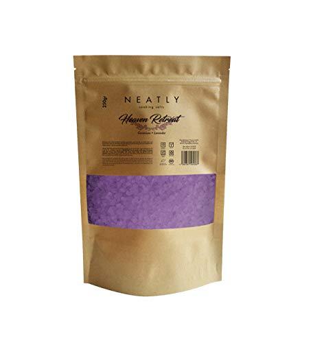 Heaven Retreat Badesalz von NEATLY I Reduziert Muskelkater & Müdigkeit I Lavendel & Geranium Badesalz 250 g I Bad zum entspannen & für die sanfte Entgiftung des Körpers I Organisch & natürlich