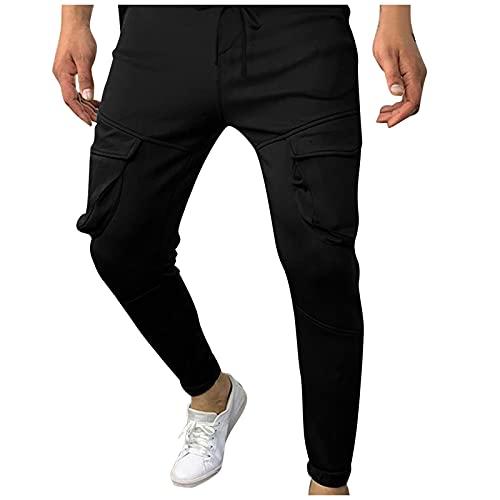 Pianshanzi Pantalones largos de tela Veneto para hombre, de corte regular, de algodón, para tiempo libre, senderismo, trekking, para hombre, Negro , M