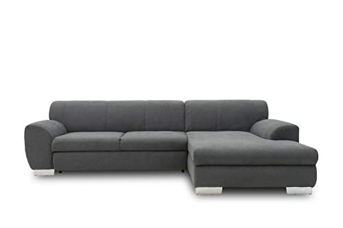 DOMO. collection Nika Eckcouch mit Schlaffunktion in L-Form, Sofa Eckgarnitur, Ecksofa Webstoff, grau, 277x156x78 cm