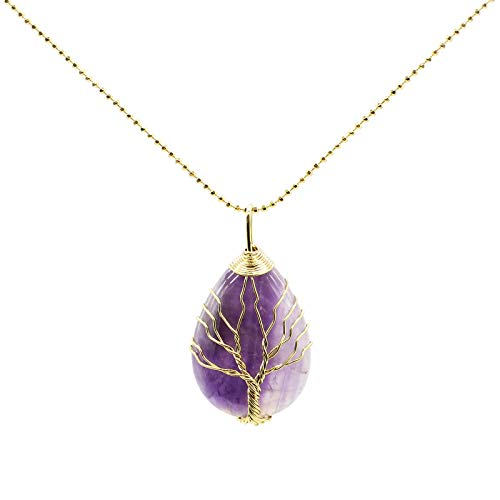 Mostop Collar unisex, collar de suéter, collar con forma de gota de alambre de cobre alrededor del árbol de la vida, colgante de piedra de cristal natural, regalo para mujeres y hombres