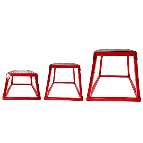 OGODU Red Jump Box *3 with Blue Yoga elastic belt Plyometric Box Set, 3 Sizes 12', 18', 24', Plyometric Platforms 3 PCS Set,Perfect Design,for Jump Exercise Fit Training and Conditioning ,For Gym or Home…