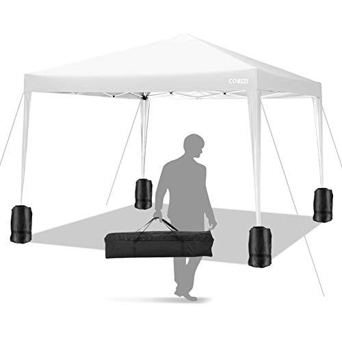 COBIZI Pavillon 3 x 3 WASSERDICHT, Pavillon inkl. Tasche wasserabweisend höhenverstellbar faltbar Pop-up Gartenzelt Partyzelt (Weiß)