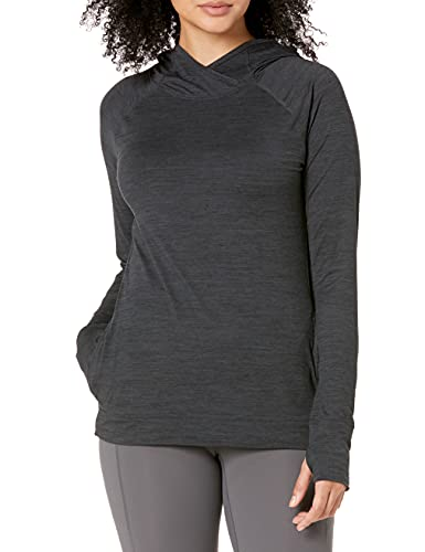 Amazon Essentials Brushed Tech Stretch Popover Hoodie Athletic, Negro (Black Space Dye), US S (EU S - M)