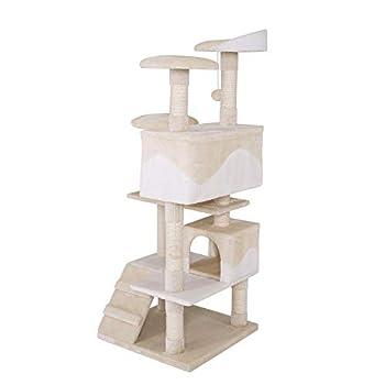 dibea Arbre à chat avec griffoir - 62 x 62 x 130 cm - Beige/Blanc