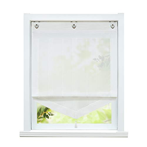 ESLIR Raffrollo ohne Bohren Gardinen Küche Landhaus Raffgardinen mit Ösen Transparent Ösenrollo Vorhang Leinen Weiß BxH 100x140cm 1 Stück