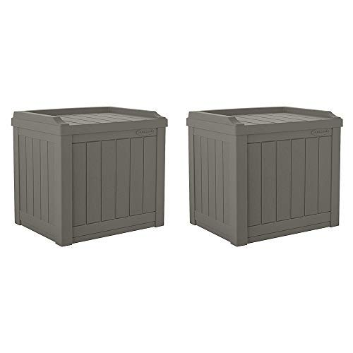 Suncast 22-Gallon Indoor Outdoor Resin Patio Storage Chest Deck Box and Seat for Patio, Garden, Garage, or Pool for All Weather, Stoney, 2 Pack